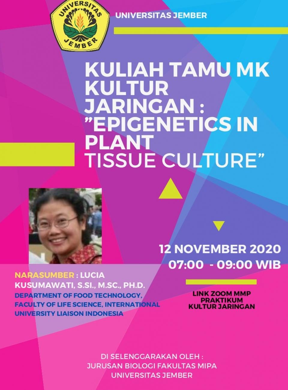Kuliah Tamu MK Kultur Jaringan